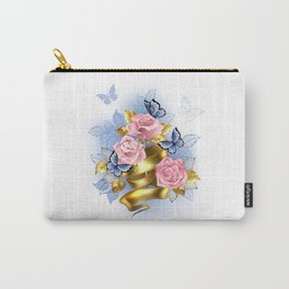 Pink Roses with Gold Ribbon Carry-All Pouch