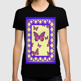 Decorative Purple-Cream Colored Monarch Butterflies Lattice Design T-shirt