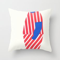 boy with yellow cap Throw Pillow