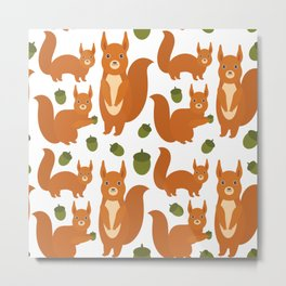 Seamless pattern Set of funny red squirrels with fluffy tail with acorn  on white background Metal Print