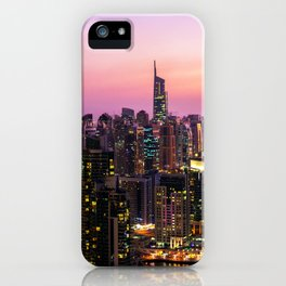 Skyline Jumeirah Lake Towers, Dubai, United Arab Emirates at Dusk iPhone Case
