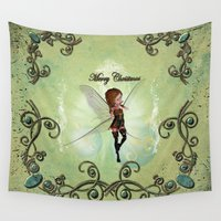 elf Wall Tapestries featuring Christmas elf by nicky2342