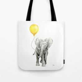Elephant Watercolor Yellow Balloon Whimsical Baby Animals Tote Bag