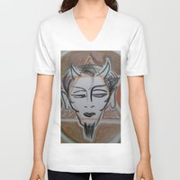 satan V-neck T-shirts featuring HA SATAN by Kathead Tarot/David Rivera