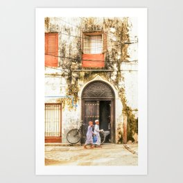 3620 Kids walking in StoneTown Zanzibar Art Print