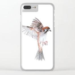 Watercolor birds - sparrow Clear iPhone Case