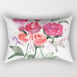 Abstract Watercolor Red Roses Rectangular Pillow