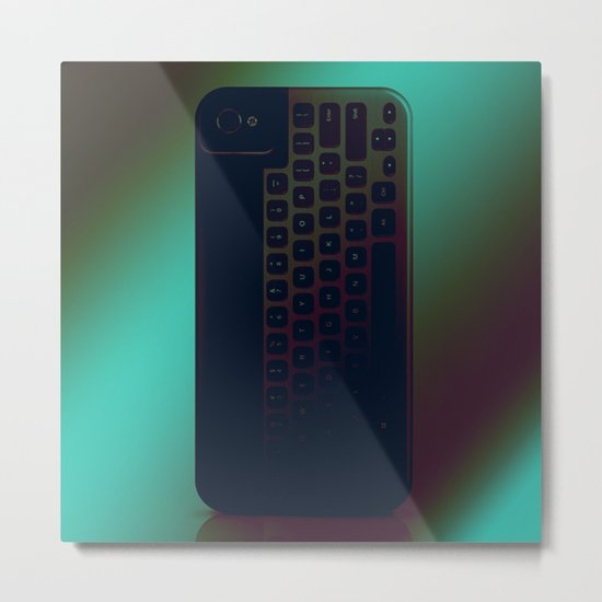 Brushed Metal Keyboard Metal Print