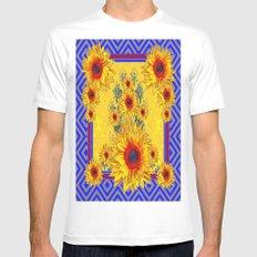 Blue-Grey Yellow-red Sunflowers Pattern Art White Mens Fitted Tee MEDIUM