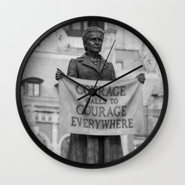 Courage calls to Courage Everywhere memorial black and white photography - black and white photographs Wall Clock