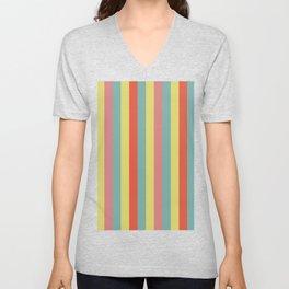 Vertical tropical paradise stripes sunny turquoise lines Unisex V-Neck