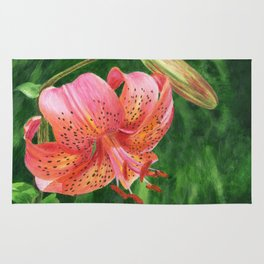 Coral Lily Painting by Teresa Thompson Rug