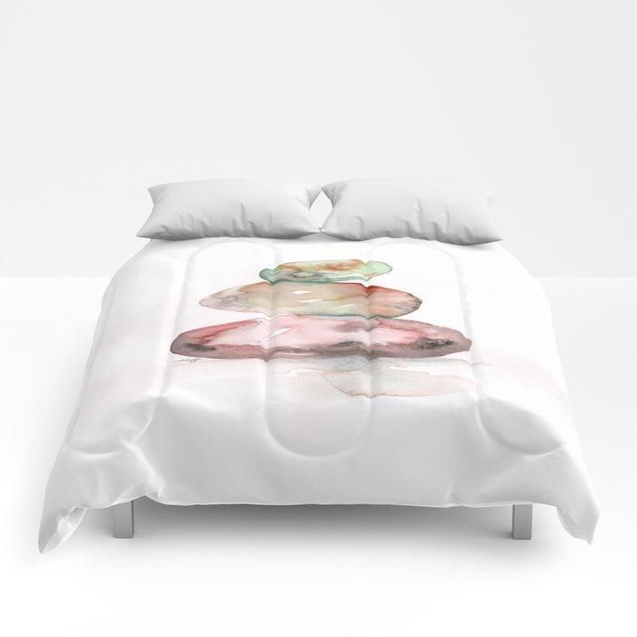 Meditation Stones No. 5D by Kathy Morton Stanion Comforters