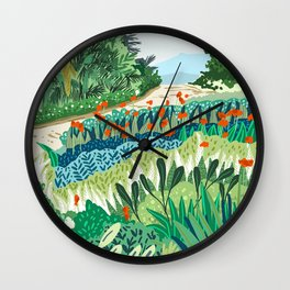 Solo Walk, Nature Jungle Forest Tropical Colorful Vibrant Bortanical Illustration Painting Wall Clock