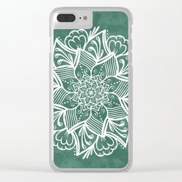 Mandala Pine Forest Green Clear iPhone Case