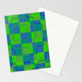 Squares Retro Style blue green Stationery Cards