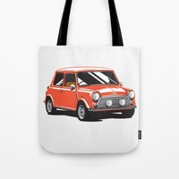 mini cooper Tote Bags featuring Mini Cooper Car - Red by C Barrett