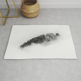 Minimalist forest in a sea of clouds in Black and White – Landscape Photography Rug