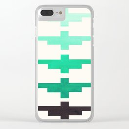 Mid Century Minimalist Ancient Aztec Inca Geometric Pattern Watercolor Teal Turquoise Colorful Gouac Clear iPhone Case