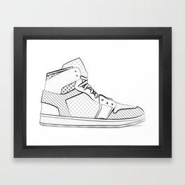 sneaker illustration pop art drawing - black and white graphic Framed Art Print