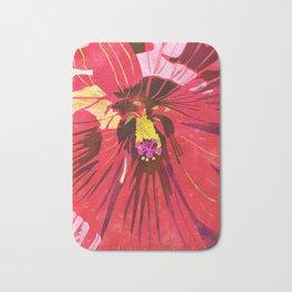 Red Hibiscus Flower Watercolor Portrait Bath Mat