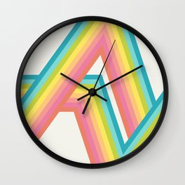 Retro Rainbow Rays Wall Clock