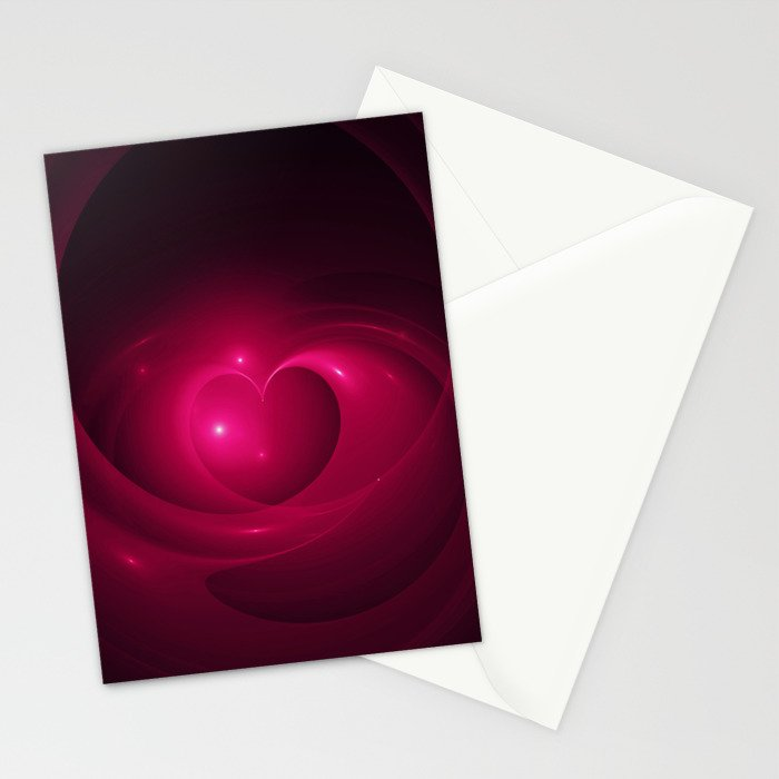 Here Is My Heart Fractal Stationery Cards