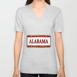 Alabama State Name License Plate Unisex V-Neck