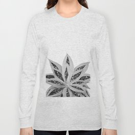 Gray Agave with Black Silver Glitter #1 #shiny #tropical #decor #art #society6 Long Sleeve T-shirt