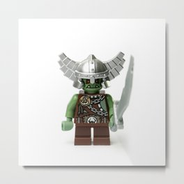 Green Minifig with a helmet and sword Metal Print