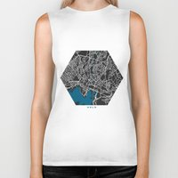 oslo Biker Tanks featuring Oslo city map black colour by MCartography