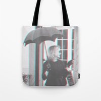 jessica lange Tote Bags featuring Jessica Lange Fiona Goode Supreme by NameGame