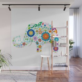 Colorful flowers elephant illustration Wall Mural