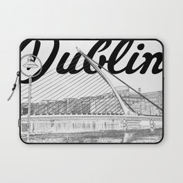 Dublin Samuel Becket Bridge, River Liffey, Black & White Laptop Sleeve