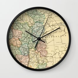Old Map of the East of France Wall Clock