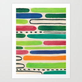 Bold lines -colorful ink abstract painting Art Print