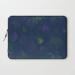 Jellyfish Photo Pop Art Print - Blue, Green and Purple Laptop Sleeve