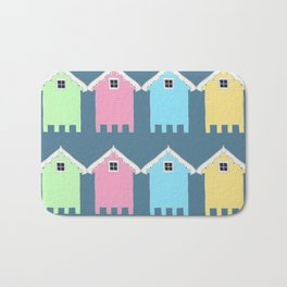 British Seaside Beach Huts Bath Mat