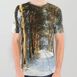 Forest Snow Scene All Over Graphic Tee