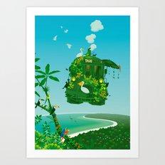 Green Taxi Art Print