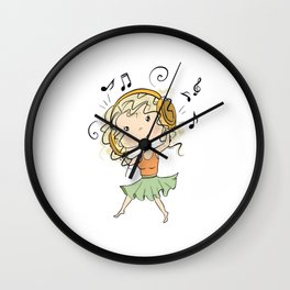 Girl With Headphones Wall Clock