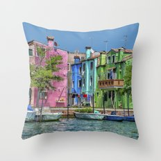 Colorful Burano House, Burano, Italy Throw Pillow