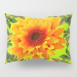 YELLOW SUNFLOWER CHARTREUSE GARDEN BROWN ART Pillow Sham
