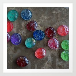 Colorful Crackled Glass Cabochons Art Print