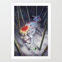 okami Art Prints featuring Okami by Caroline Roy