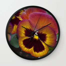 Pansy Painted Wall Clock