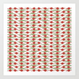 Minimalist Holiday Pattern of Dots and Stripes in Christmas Red and Green Art Print