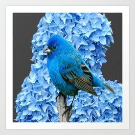 BLUE BIRD & BLUE HYDRANGEAS GREY ART Art Print