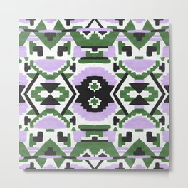 Geometric Aztec - Lilac and Forest Green Metal Print