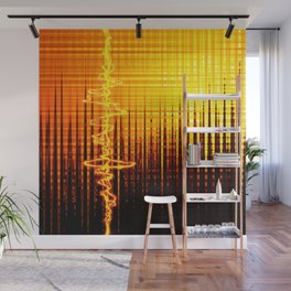 Sound wave orange Wall Mural